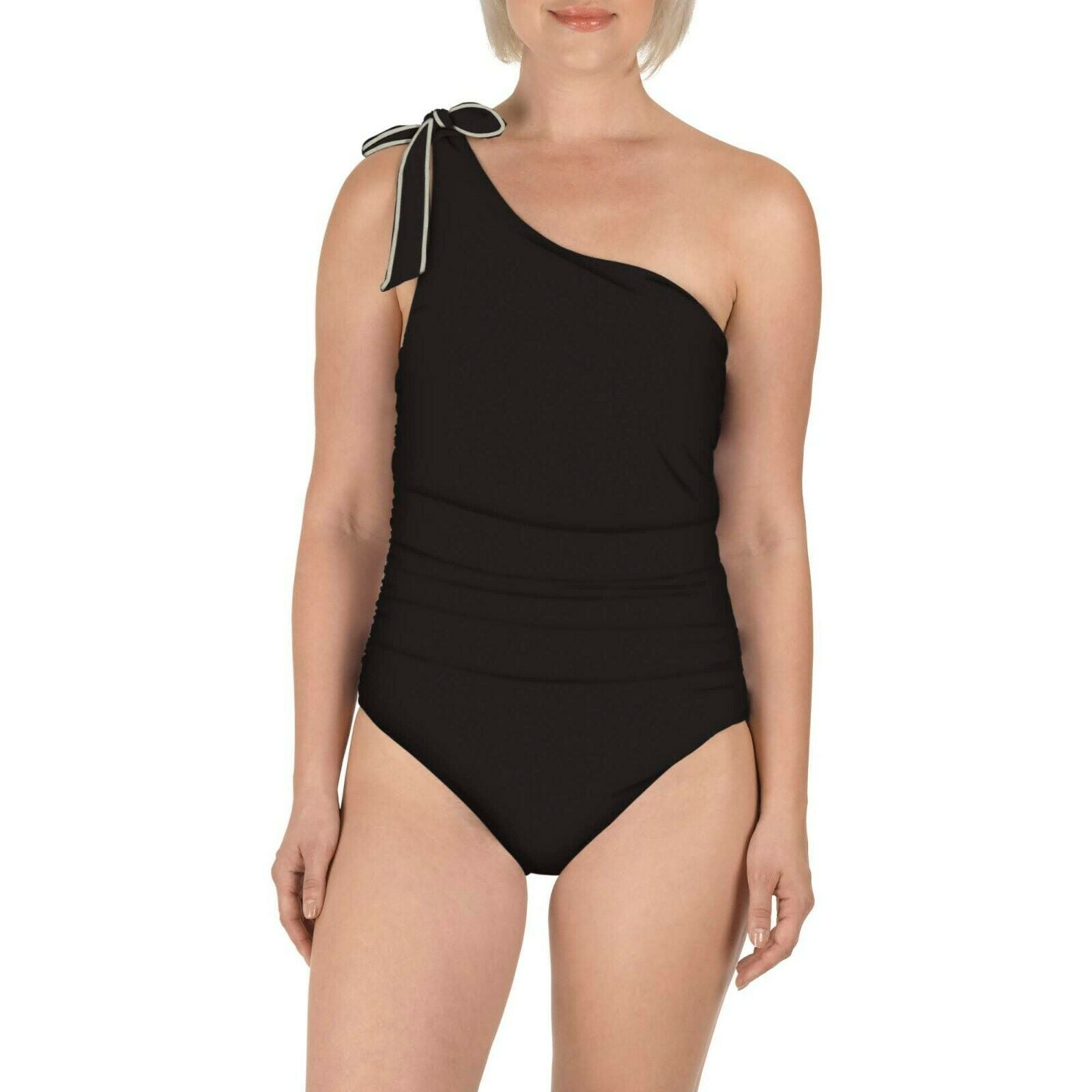 Carole Hochman Tie Asymmetrical One-Piece Swimsuit, Black, Size:14 - BrandsForLess.CO