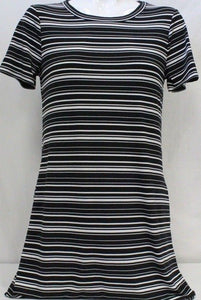 Kenneth Cole Women Short Sleeve Tunic Dress With Pockets in Black/White - BrandsForLess.CO