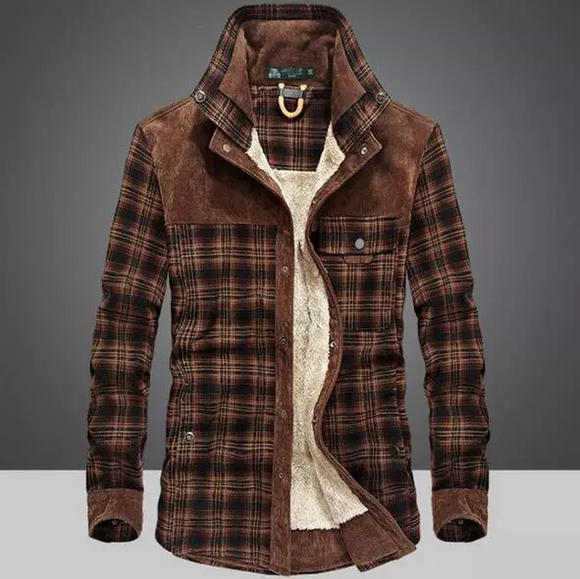 Plaid Corduroy Shirt Men Autumn Winter Casual Warm Coats ( 💥Over $89+ ,Code SAVE10🛒)