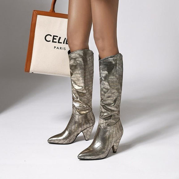 Snakeskin Women Knee High Boots