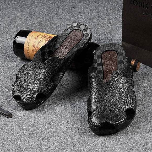 Fashion Genuine Split Leather Men Beach Roman Sandals  ( 💥Over $89+ ,Code SAVE10🛒)