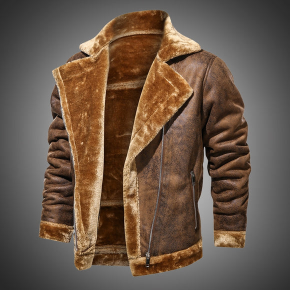 2021 Men's Suede Leather Lapel Collar Vintage Style Jackets ( 💥Over $89+ ,Code SAVE10🛒)