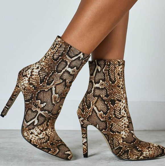 Print Ankle Boots Women heels