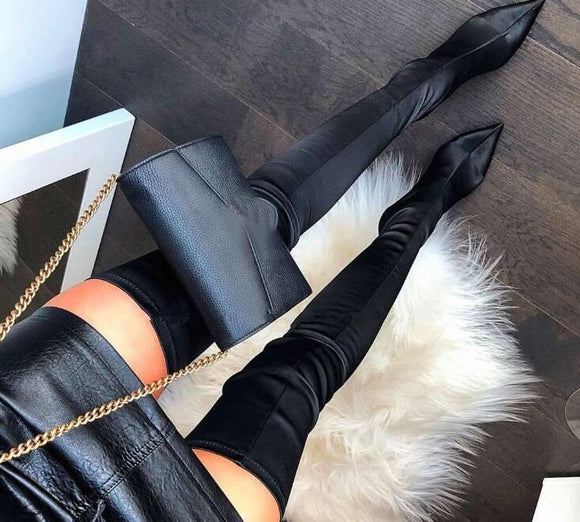 Thigh High Boots Over The Knee Elastic Stretch Boots