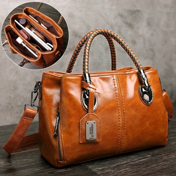 New Woven Handle Contrast Color Fashion leather Large Capacity Three-layer Practical Handbag