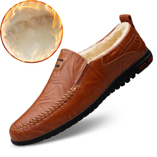 2019 Men Fashion Winter Warm Fur Business Dress Formal Shoes