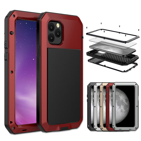 Luckum - HOT SALE  Luxury Doom Armor Dirt Shock Waterproof Metal Aluminum Phone Case for iPhone11/11Pro/11Pro Max X XR XS MAX 8 7 6 5 + Tempered Glass