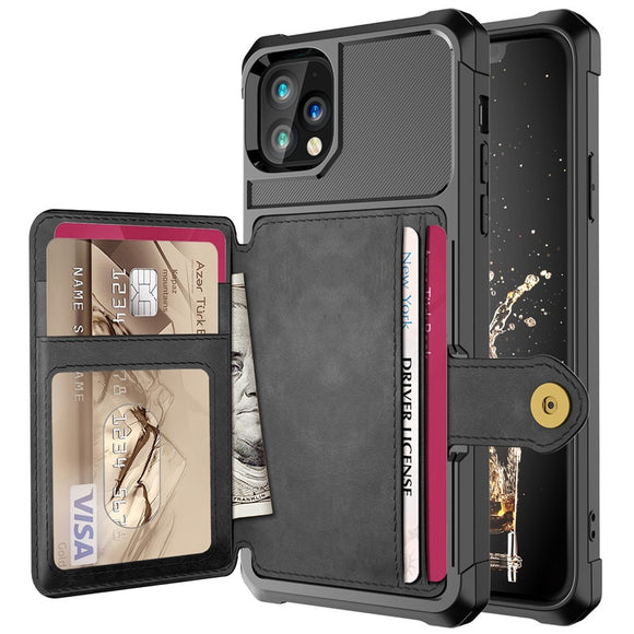Armor PU Leather Wallet Card Magnetic Case For iPhone 12 Card Wallet Flip Cover Protection