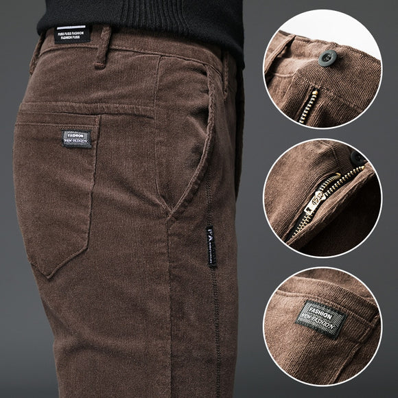 New Straight Slim Stretch Men Corduroy Pants ( 💥Over $89+ ,Code SAVE10🛒)