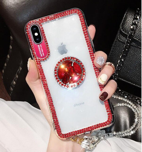 Luxury Bling Glitter Diamond Soft With Finger Ring Case For iPhone XR XS Max X 8 7 6 6S Plus