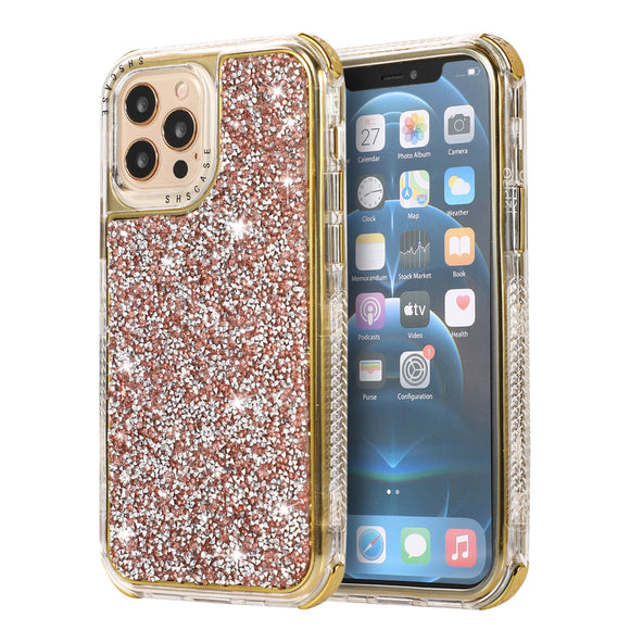 Flashing Glitter Rhinestone Phone Case For iPhone 11 12 Pro Max 2 in 1 Shockproof Bumper Back Cover