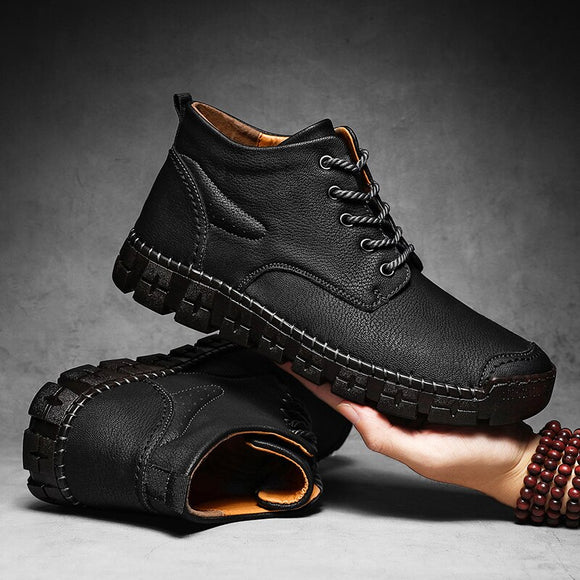 2021 Men Winter Snow Genuine Leather Ankle Warm Boots ( 💥Over $89+ ,Code SAVE10🛒)
