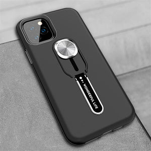 Business Magnetic Car Stand Holder Silicone Finger Ring Case For iPhone 12 Shockproof Back Cover