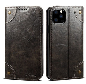 Classic Wallet Flip Leather Case For iPhone 11 12 Pro Magnetic Book Flip Phone Case Cover