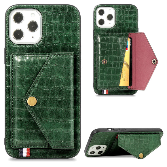 Crocodile Texture Magnetic Holder Case For iPhone 12 Leather Wallet Card Slot Phone Cover