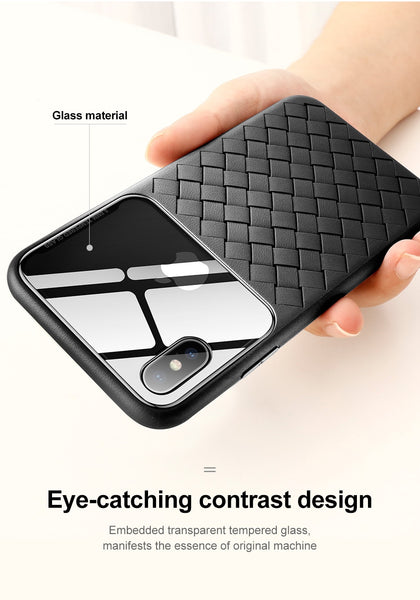 Breathable Weave Texture Clear Tempered Glass Case For iPhone 7 8 Plus X XR XS Max