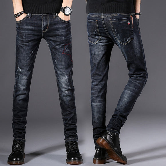 Fashion Stretch Dark Blue Skinny Jeans For Men ( 💥Over $89+ ,Code SAVE10🛒)