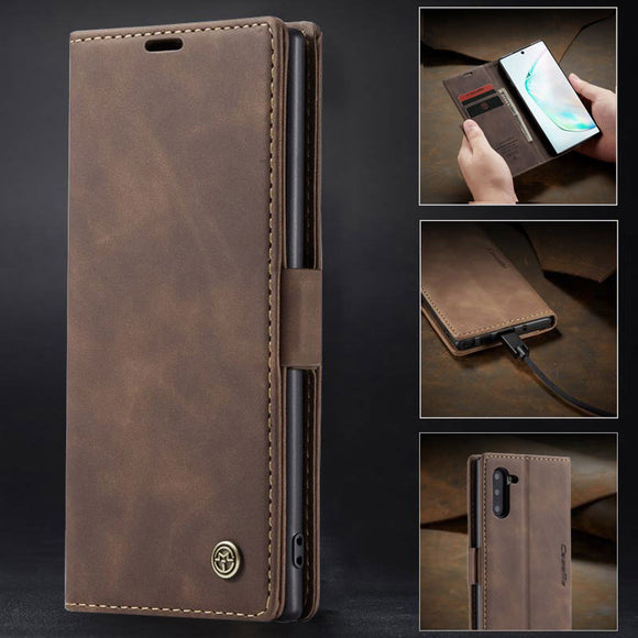 Luckum - Luxury Flip Retro Leather Card Holder Flip Cover Case For Samsung Note 10 pro S10 plus S10 lite S10 Note 9 8 S9 S8 Plus