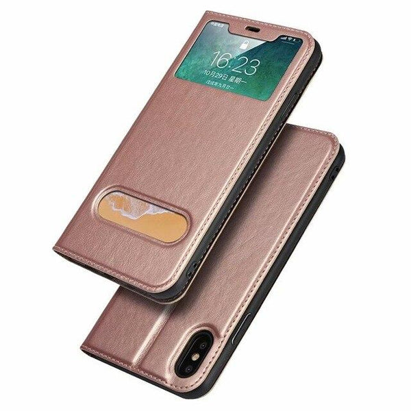 Luxury Ultra Slim Shockproof Smart Flip Window View Holder Cases For iPhone XS MAX XR X