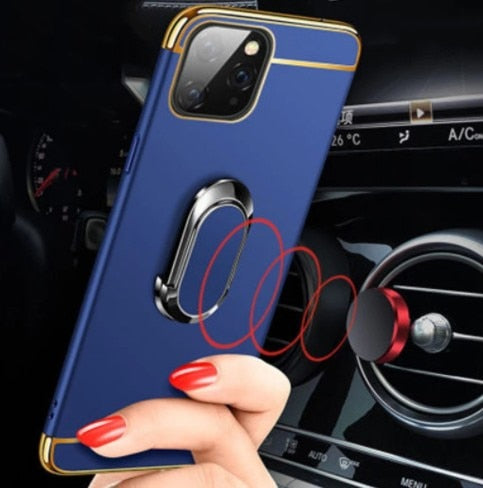 For iPhone 12 Case Magnetic Ring Ultra Thin Matte Hard PC Holder Cover