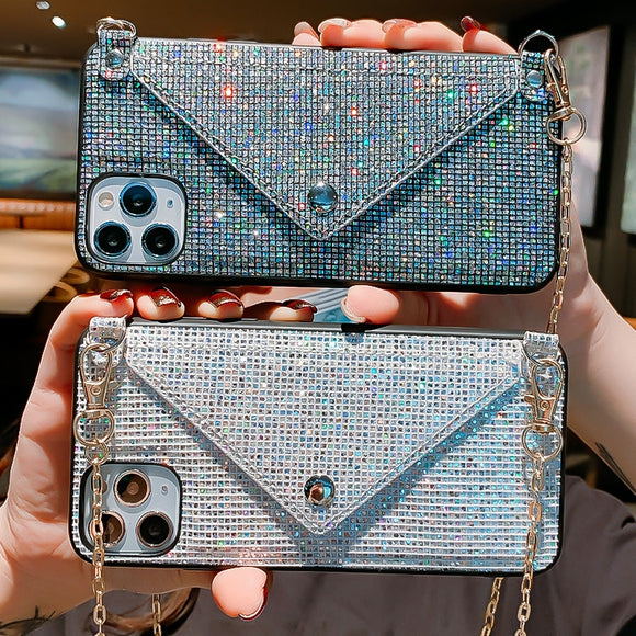 Glitter Luxury Diamond Wallet Card Phone Case For iPhone 12 Shining Crossbody Cover With Chain