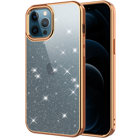 Glitter Plating Transparent Phone Case For iPhone 12 Pro Max Mini Slim Shockproof Bumper Hard Cover