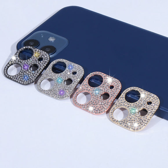 Glitter Rhinestone Protector Camera Lens Protection For iPhone XS 11 12 Pro Max Mini Full Cover Bling Diamond Protective Ring