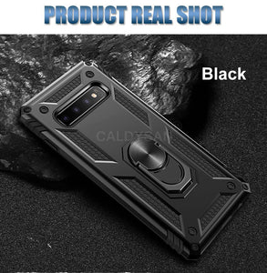 Luxury Heavy Duty Anti-knock Shockproof Car Holder Ring Soft Phone Case For Samsung S10 plus S10 lite S10 Note 9 8 S9 S8 Plus