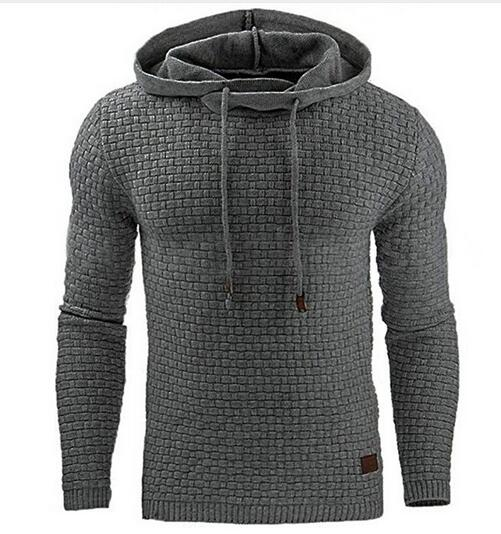 Men's Long Sleeve Solid Color Lattice Hooded Sweatshirt( 🎄Merry Christmas Two Products Discount Code:LK12 )