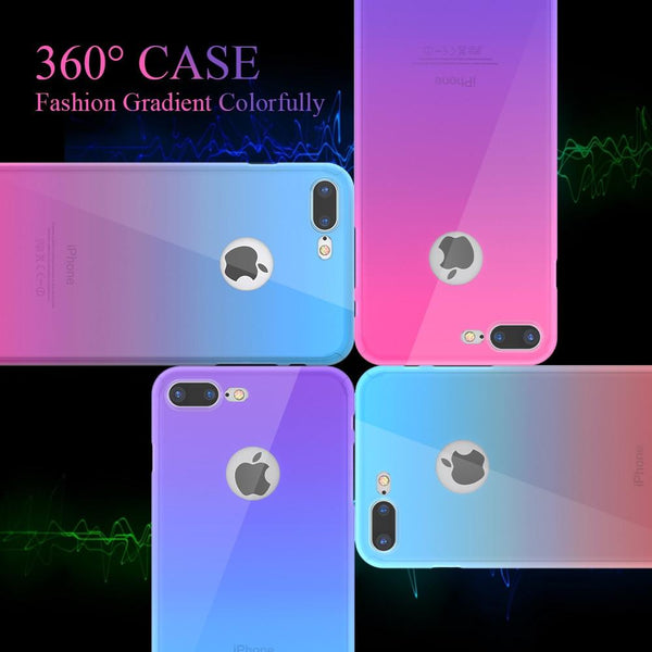 360° Full Protection Gradient Case+ Film Screen For iPhone
