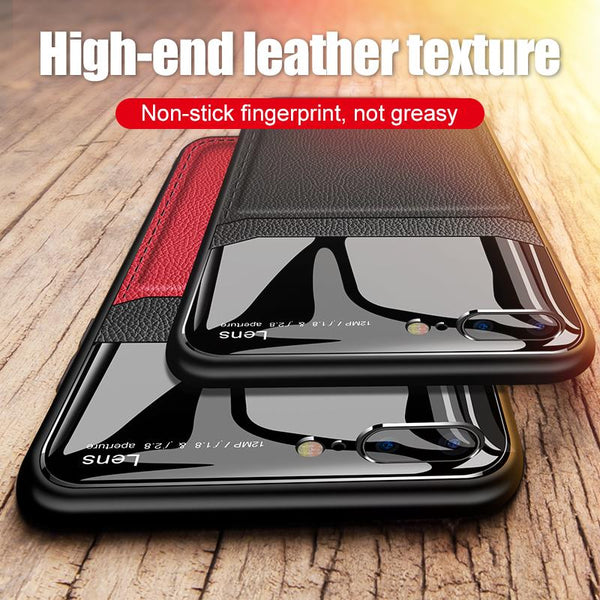 Luxury Retro PU Leather Mirror Glass Silicone Shockproof Cover Case For iPhone X XR XS MAX 8 7 6S 6/Plus