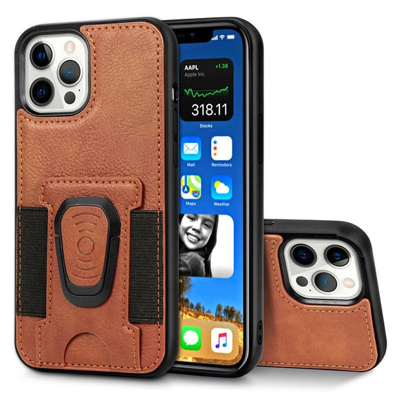 Leather Magnetic Ring Holder Phone Case For iPhone 12 Silicone Frame Card Slot Back Cover