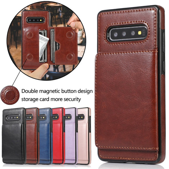 Retro Leather Card Slot Holder Wallet Case For Samsung Galaxy S10 E S20 Ultra S9 S8 Note 8 9 10 Plus
