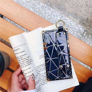 Fashion Metal Square Laser Cover Cases with Wrist Strap for iPhone X XR XS MAX