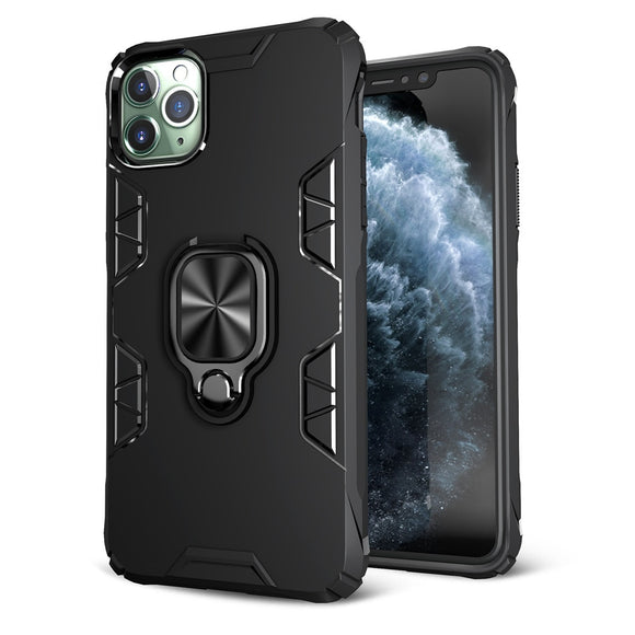 Luxury Shockproof Armor Ring Holder Phone Case For iPhone 12  Magnetic Car PC Hard TPU Cover