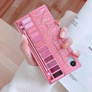 Luxury Square Mesh Red Makeup Eye Shadow Box Shockproof Protective Case For iPhone XS MAX XR X XS 7 8 Plus