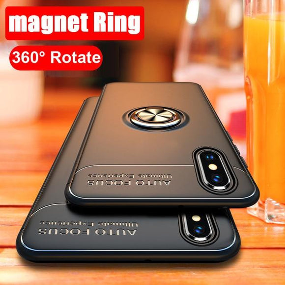 Ultra Thin TPU Kickstand with Car Magnet Armor Shockproof Ring Case for iPhone 6 7 8 Plus XS MAX XR XS