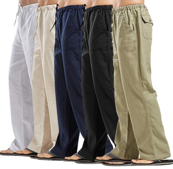 Mens Cotton Linen Casual Pants Solid Straight Loose Streetwear ( 💥Over $89+ ,Code SAVE10🛒)