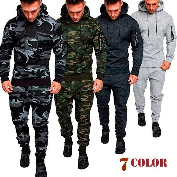 Mens Camouflage Slim Fit Tracksuit 2 Pcs / Set( 💥Over $89+ ,Code SAVE10🛒)
