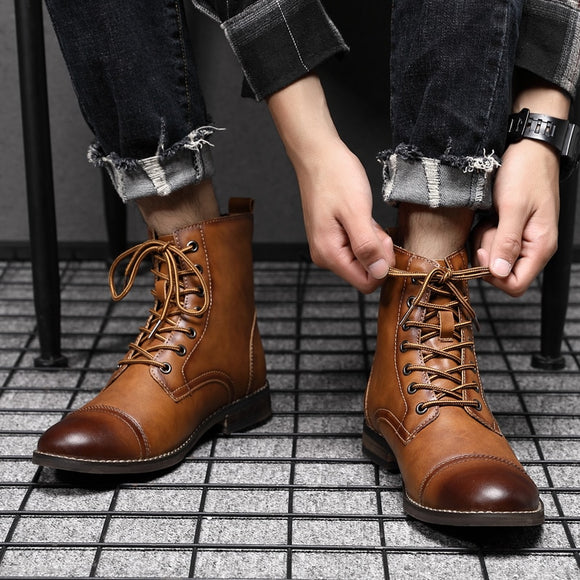 2020 Men Fashion British Vintage Leather Ankle Boots
