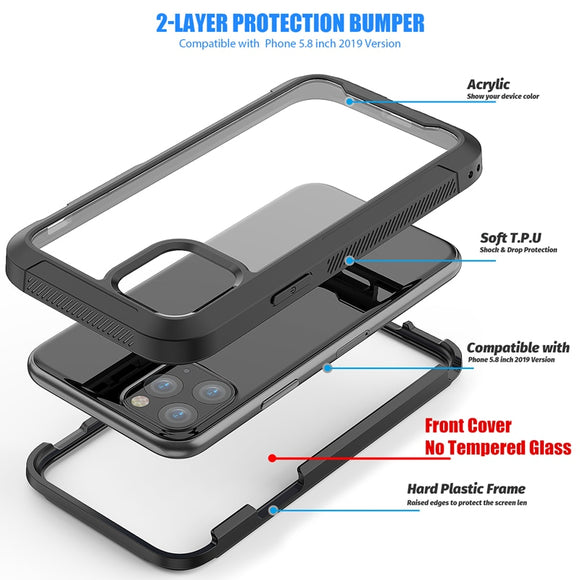 Military Shock Absorption Case For iPhone 12 Pro Cover Transparent PC + TPU Bumper Frame Protective Case