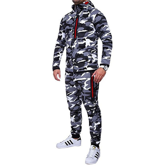 New Camouflage Printed Men 2 Pieces Tracksuit Sportswear Suits( 💥Over $89+ ,Code SAVE10🛒)