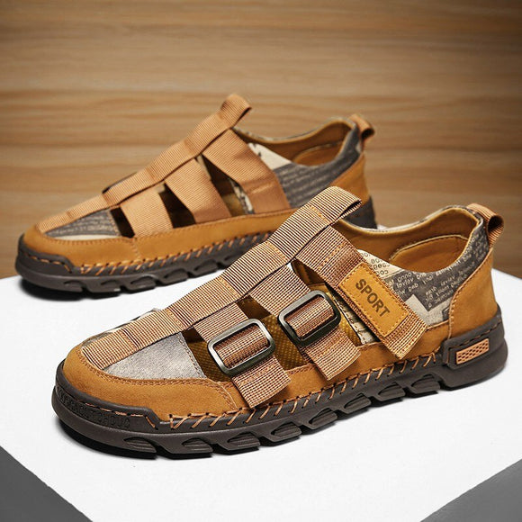 Men Leather Mesh Splicing Beach Sandals ( 💥Over $89+ ,Code SAVE10🛒)