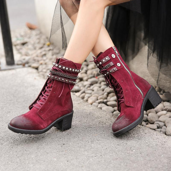 Boot - Retro Rivet Side Zipper Frosted Leather Lace up Boots