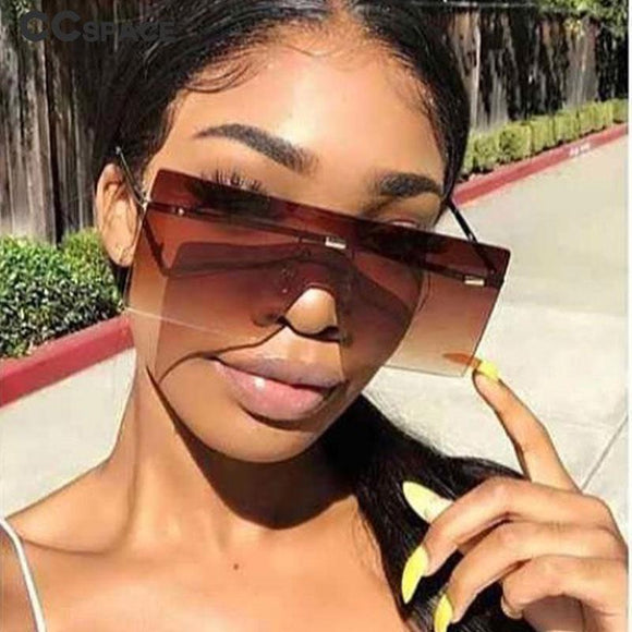 Oversized One Lens Sunglasses Fashion Shades UV400 Vintage Glasses