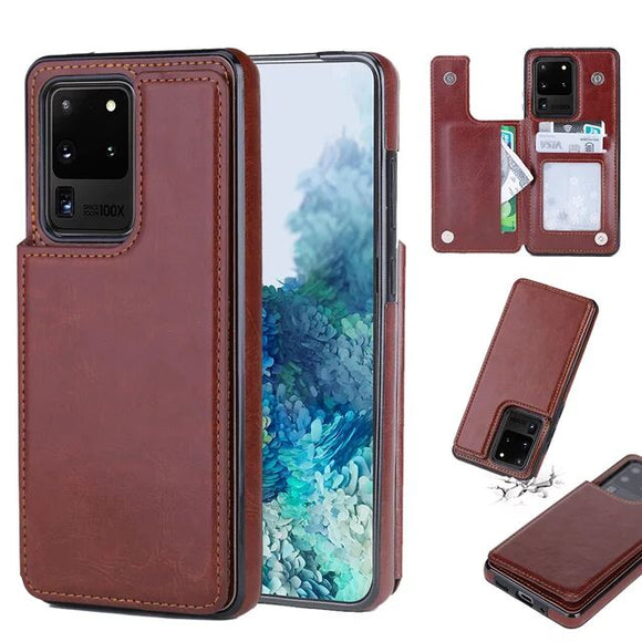 Case & Strap - Luxury Shockproof Armor Leather Wallet Magnet Flip Case For Samsung S20/Plus/ultra/A20S