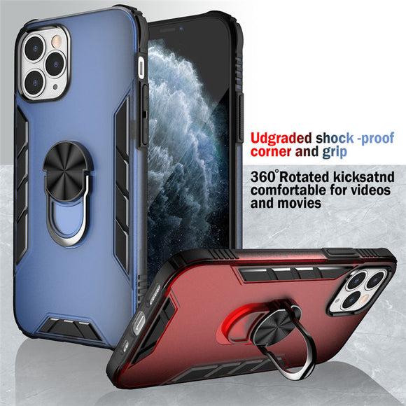 Shockproof Armor Kickstand Phone Case For iPhone 12 Mini 12Pro Magnetic Finger Ring Anti-fall Cover