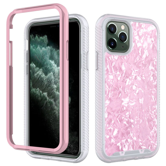 Shockproof Bumper Marble Phone Case For iPhone 12 2 in 1 Hard PC + TPU Anti-slip Back Cover