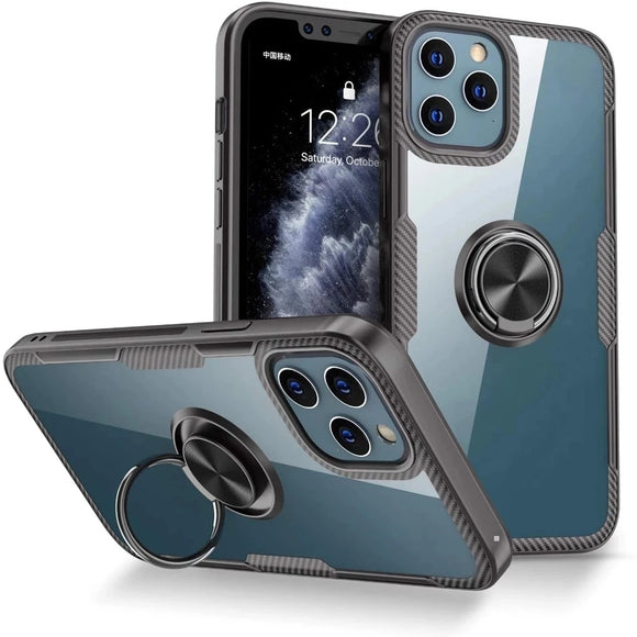 Shockproof Car Magnetic Kickstand Case For iPhone12 Pro Case Metal Ring Bumper TPU Clear Back Cover