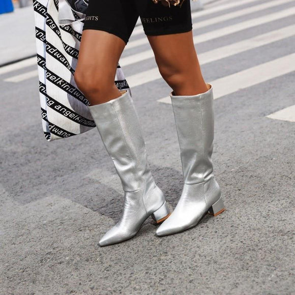 Silver Faux Leather Women High Knee Boots
